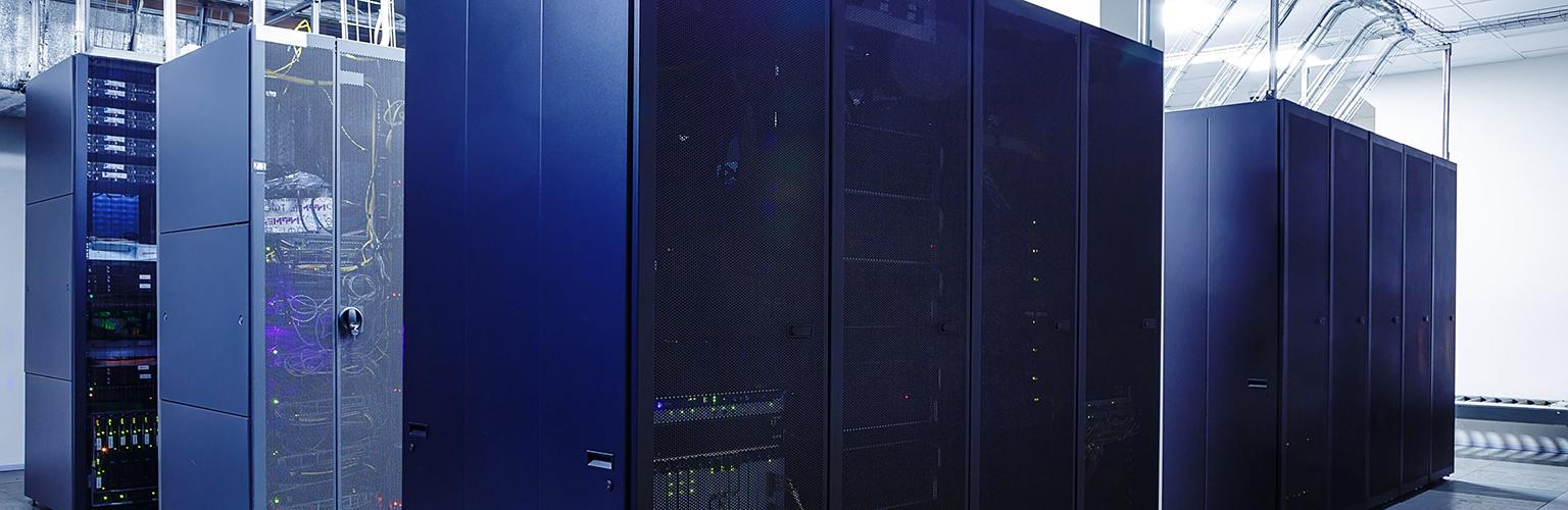 Photo of a data center UPS rack.