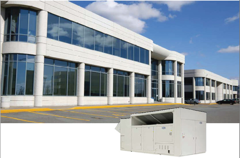 Photo of a corporate building with an inset image of an air control system.
