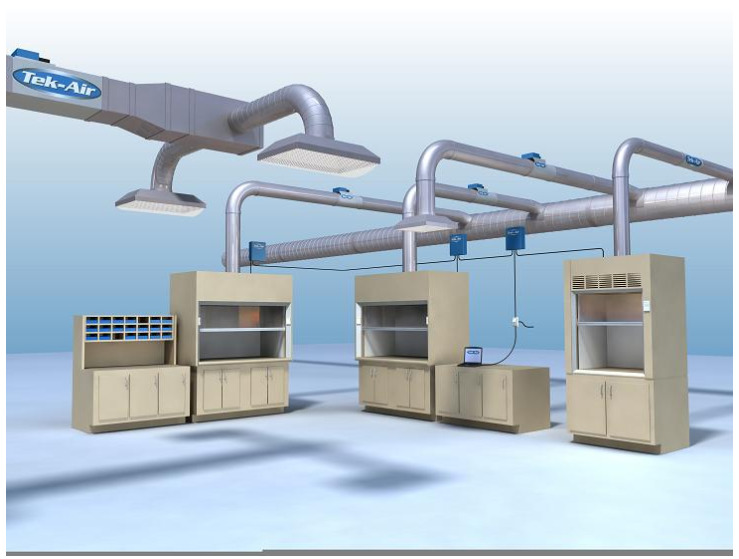 Rendered image of a laboratory HVAC environment design.